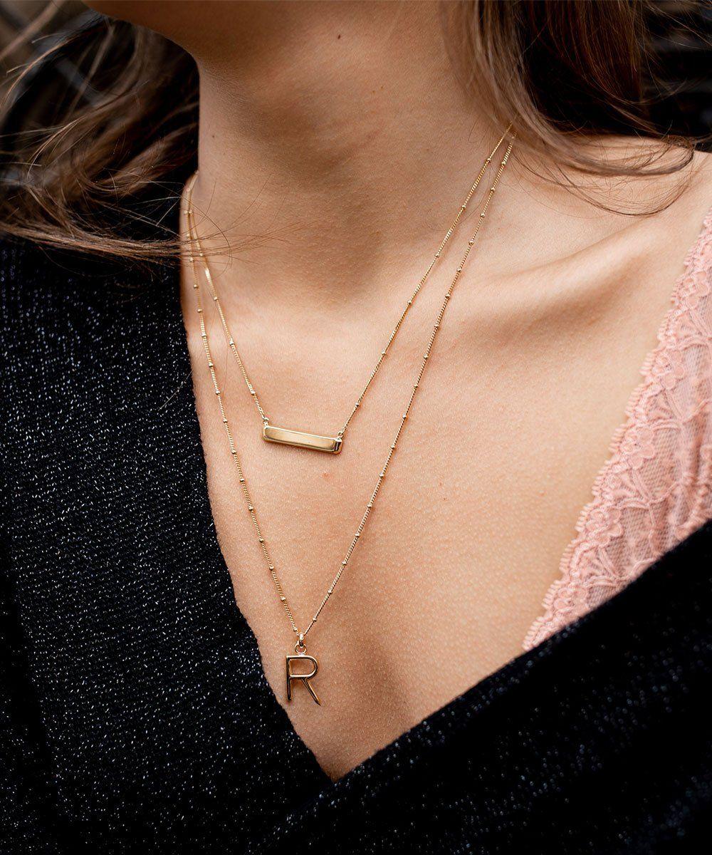 eb36c2a86e2 R Initial Necklace in 2019 | Accessorize | Initial necklace gold, Gold bar  necklace, Initial necklace