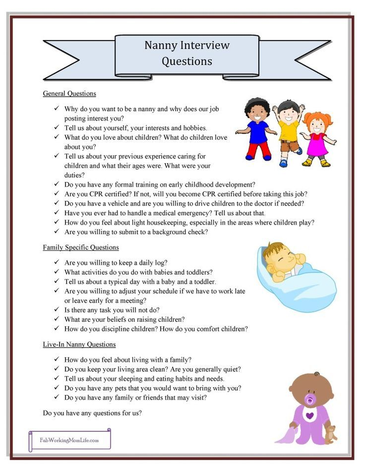 Nanny Interview Questions, Grab Your Printable Checklist