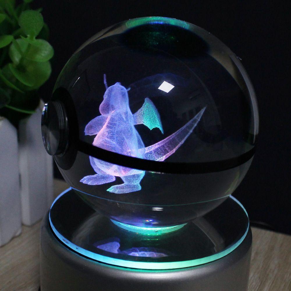 3d Engraved Crystal Poke Ball With Led Base 7 Styles Price 54 95 Free Shipping Pokemongo Led Pokemon Kristal