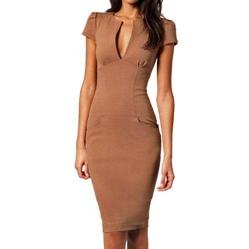 Sexy cap-sleeve Pencil Dress Pockets Midi Length Plunge V Neck Office s|m|l (Small, Cappuccino) Fancy That Clothing,http://www.amazon.com/dp/B00CG6FQR8/ref=cm_sw_r_pi_dp_q5W2sb0Z9Q9Z3NXK