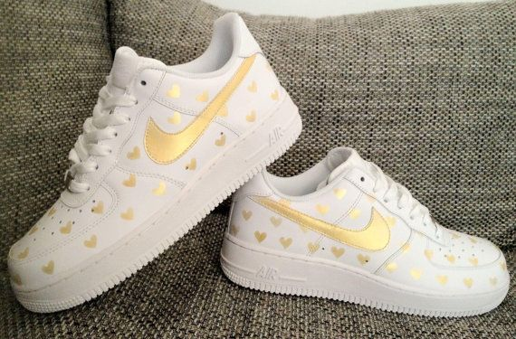 Style 2019 Air In Nike Gold Hearts Airbrush Custom Shoes Force 1 qSMGzVjLpU