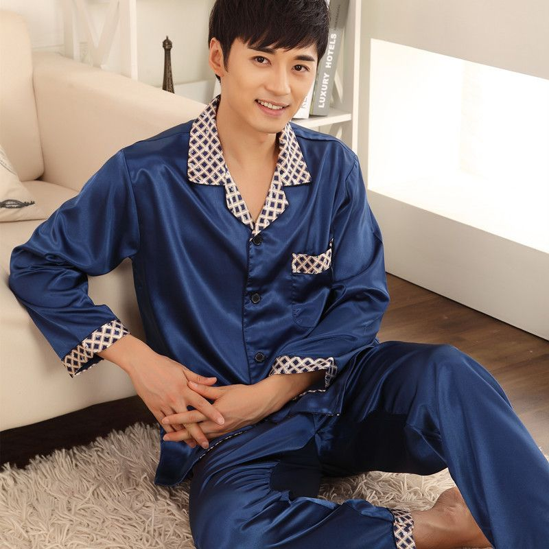 88c3e92817 Spring Summer Autumn Men Chinese Satin Silk Robes Male Bathrobe Adult Casual  Home Loungewear Man Nightwear