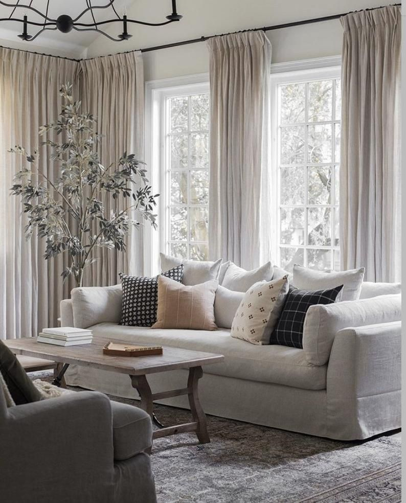 Linen Cloth Curated Collection Hart Bastideaux Bogo Chiangmai Gold Rose Tarlow Faso Kilim Black Designer Pillow Combos In 2021 Winter Living Room Window Treatments Living Room Living Room Windows