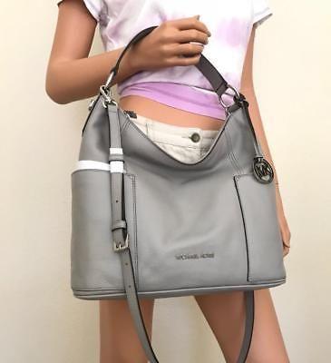 bc926bca5a22 NWT Michael Kors Large Anita Pearl Grey Leather Shoulder Hobo Crossbody Bag