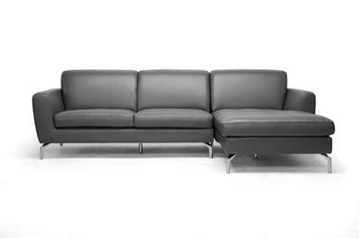 Donovan Gray Leather Modern Sectional