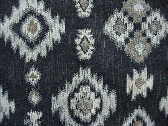 Upholstery Fabric Aztec Print Black Tan White Ivory Fabrics J