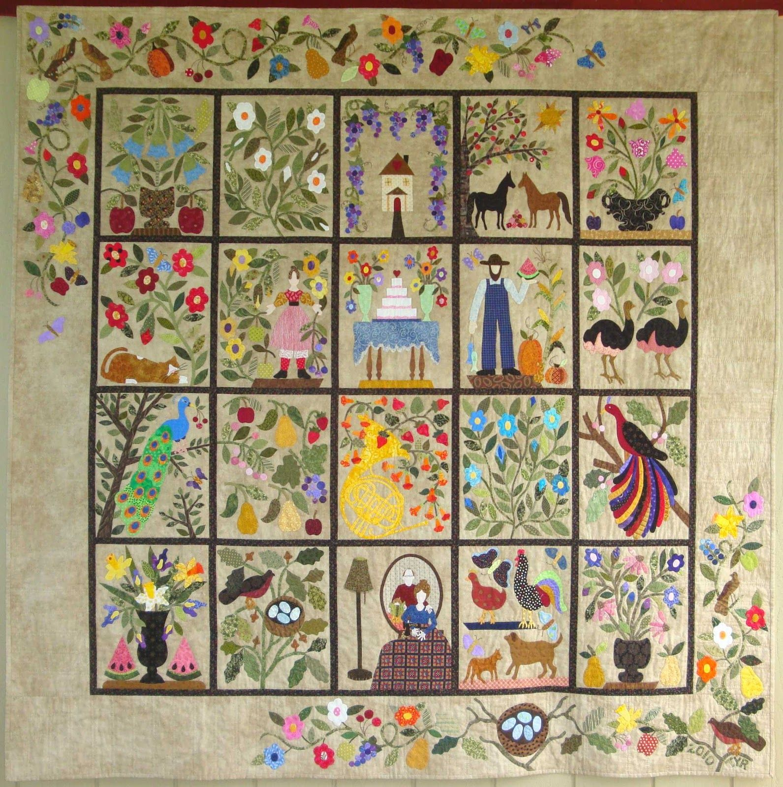Civil War Bride Quilt With Many Customized Blocks