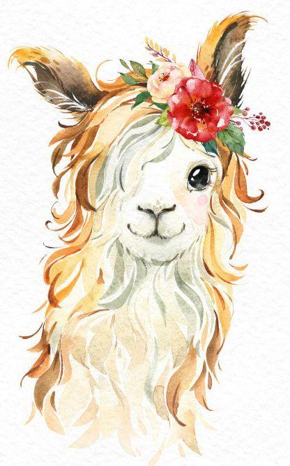 Little Llamas. Watercolor animals clipart, alpaca, portrait, flowers, kid, country, cute, baby llama, nursery art, peru, nature, baby-shower
