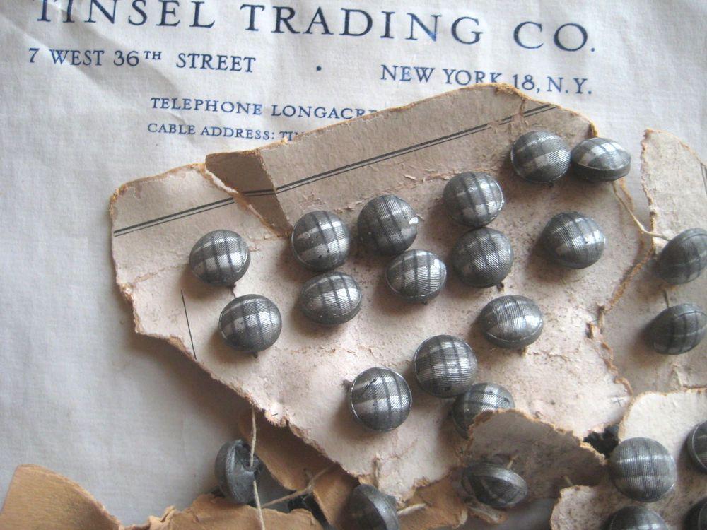 Vintage Antique Black Plaid Glass Buttons Original Card 1 Doz Doll