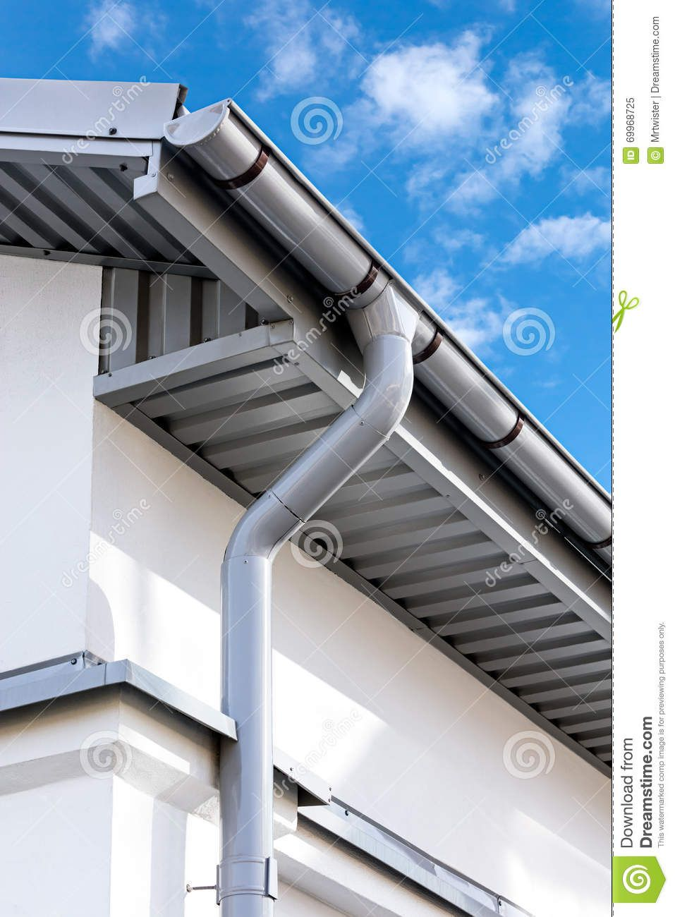 Photo About Newly Installed Gray Rain Gutter On House Rooftop Image Of Corner Gutter Build 69968725 Gutters Rain Gutters House Cladding