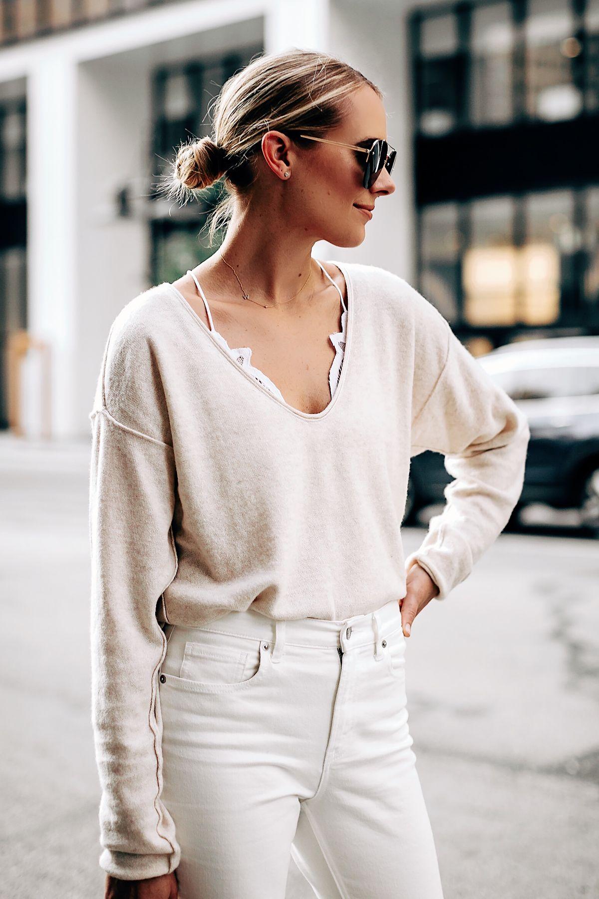 2c2c070eb6e0c Blonde Woman Wearing Free People Ivory Cashmere Sweater White Lace Bralette  Everlane White Jeans Fashion Jackson San Diego Fashion Blogger Street Style