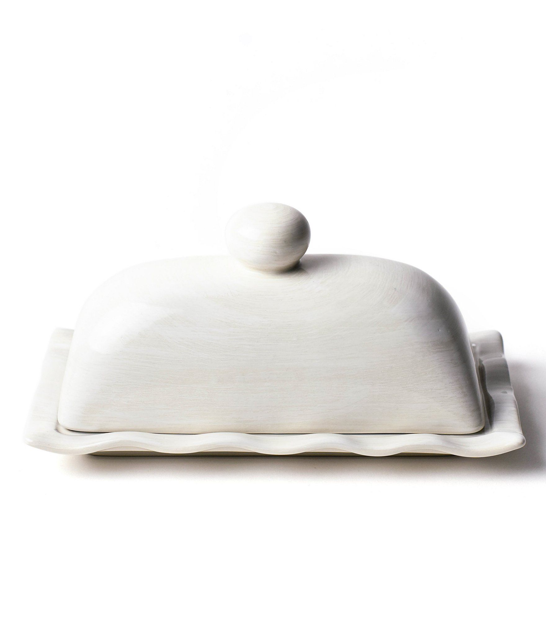 From Coton Colors, this butter dish features:EarthenwareApprox.  4