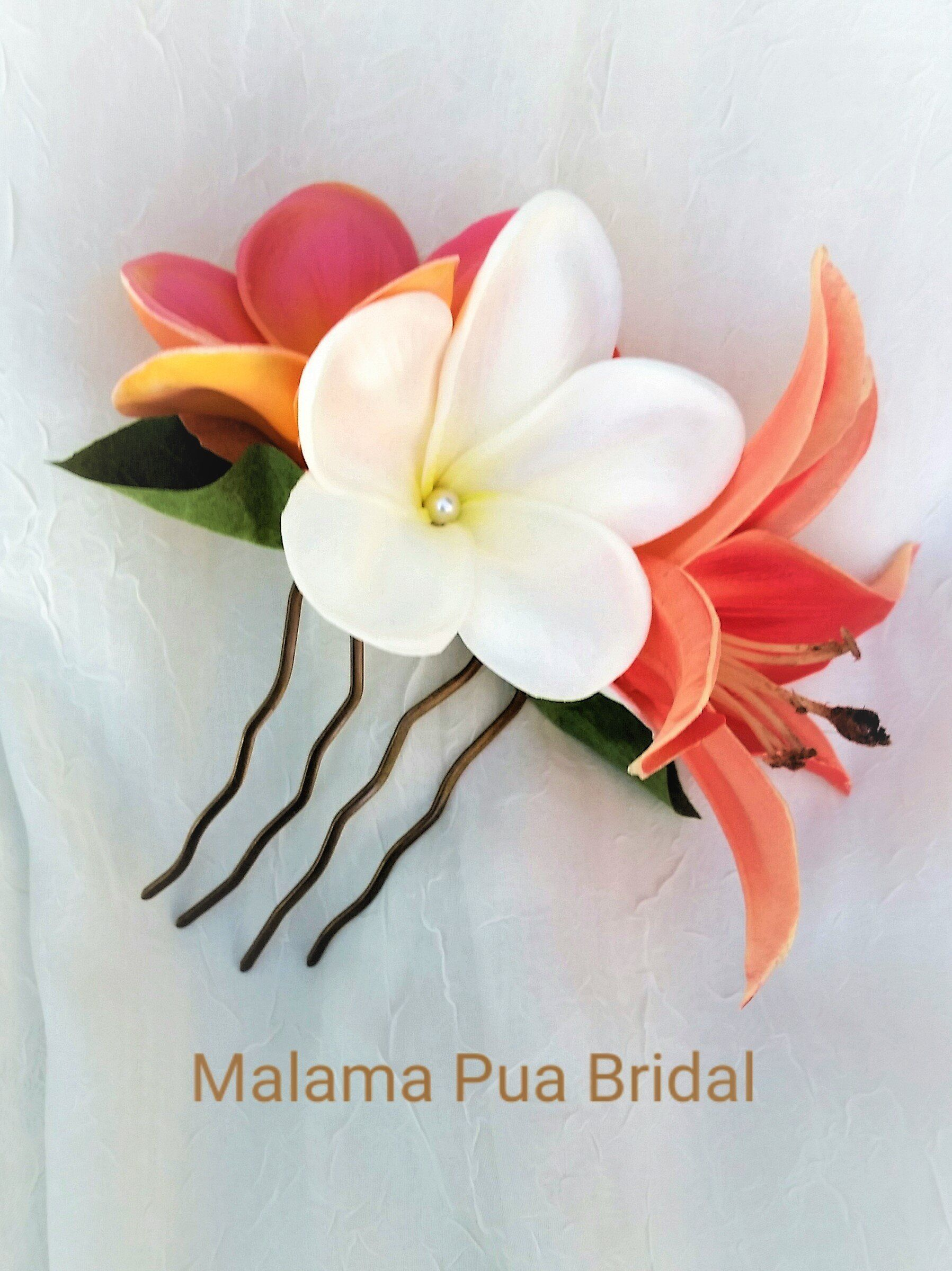 Corina Tropical Real Touch Flower Comb With Lily And Plumeria Flower Hair Pieces Bridal Hair Accessories Flower Beach Wedding Headpieces