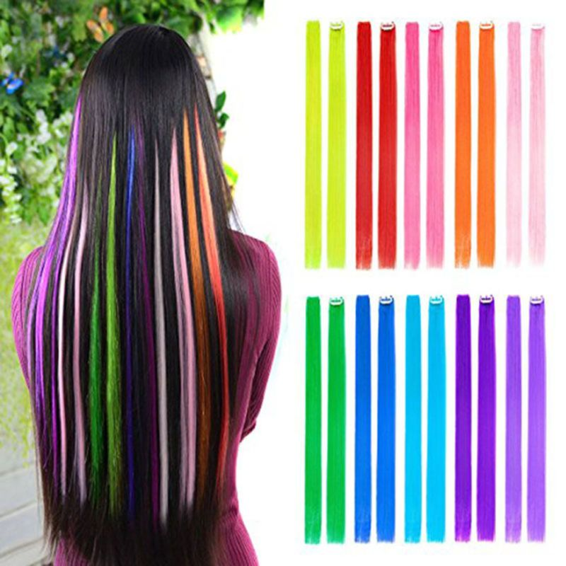 Clip On Colorful Straight Hair Toupee Highlight Hair Extension Hairpieces 3pcs Straight Hair Cli Colored Hair Extensions Fake Hair Pieces Hair Extension Pieces