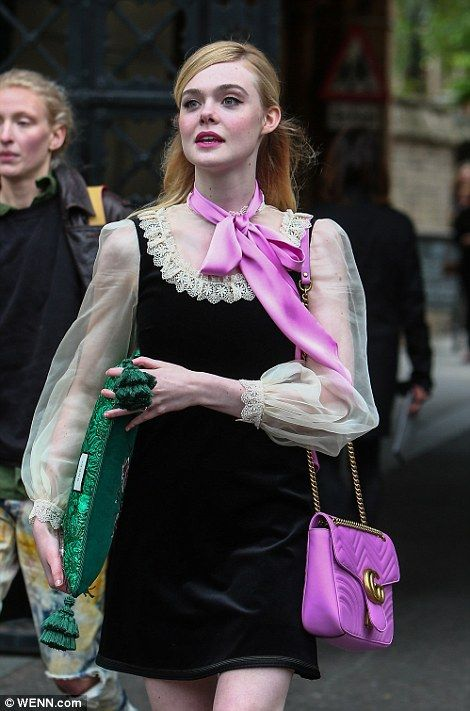 12a3f60c8 Elle Fanning - arriving at Gucci Cruise 2017 fashion show, London - June 2,  2016