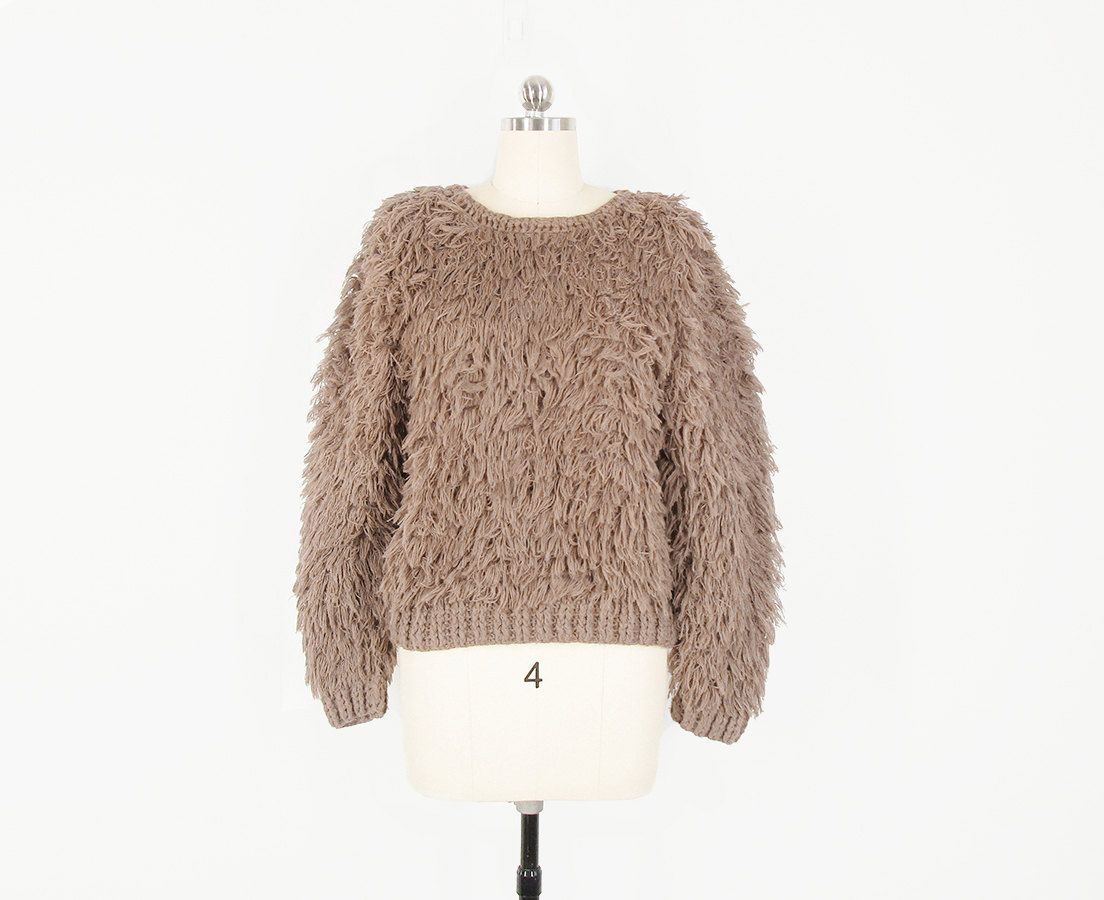 vintage shag sweater, neutral beige shaggy sweater, 70s fringe ...