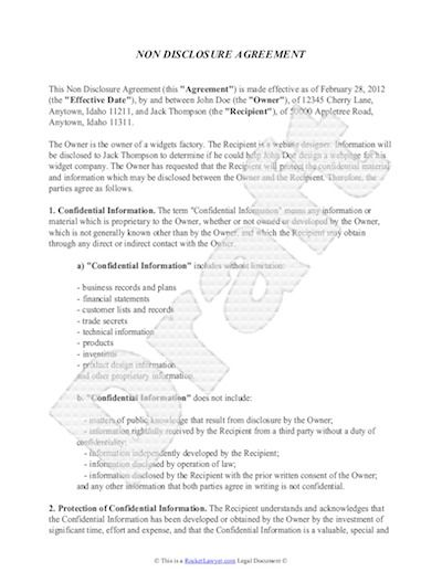 Non Disclosure Agreement Template Free Sample NDA Template Non - Real estate non disclosure agreement template