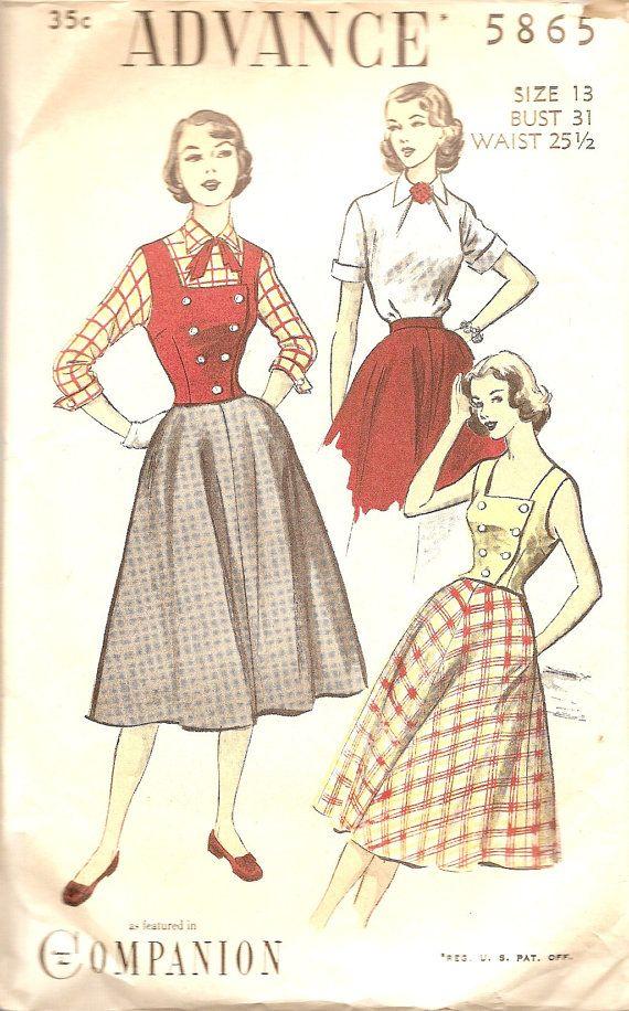 Vintage Sewing Patterns 1940s Skirt Blouse Vest 40s by TenderLane ...