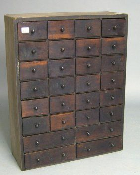 Mahogany and pine apothecary cabinet, 19th c., 33 : Lot 2092