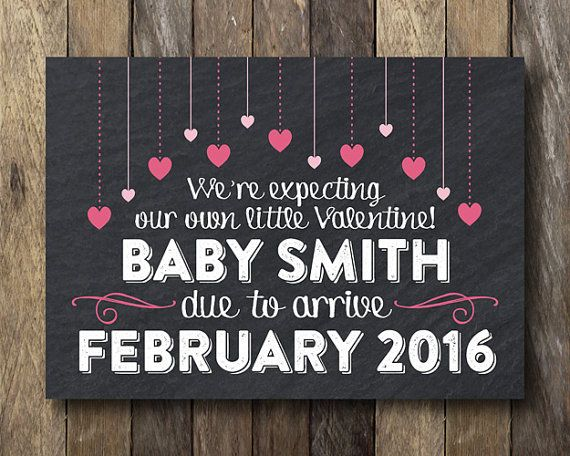 image relating to Printable Pregnancy Announcements titled Valentine Being pregnant Announcement - Printable Being pregnant