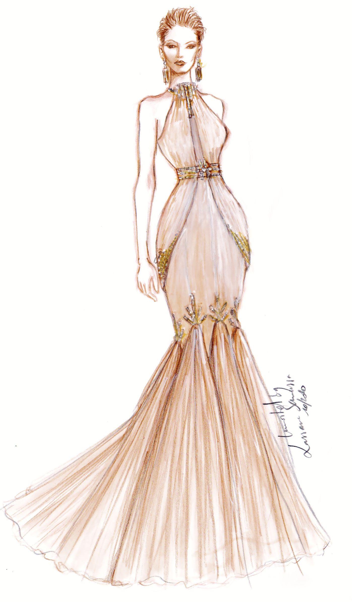 Dessin robe immortel atelier mousseline rebord e de perles et sequins par lassana samassa - Dessin couturiere ...
