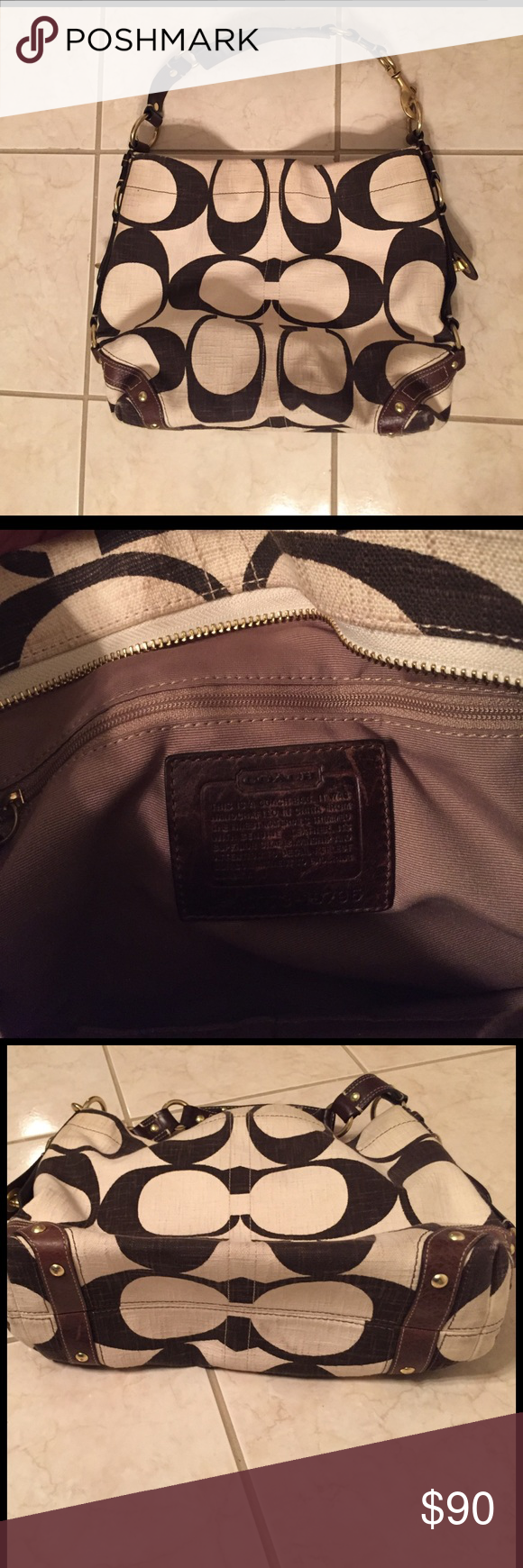 Coach purse Large cream and brown large Coach purse Coach Other