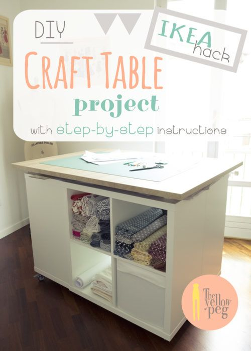 Home Office How To Build A Low Budget Craft Room The Yellow Peg Craft Table Diy Craft Table Ikea Craft Table