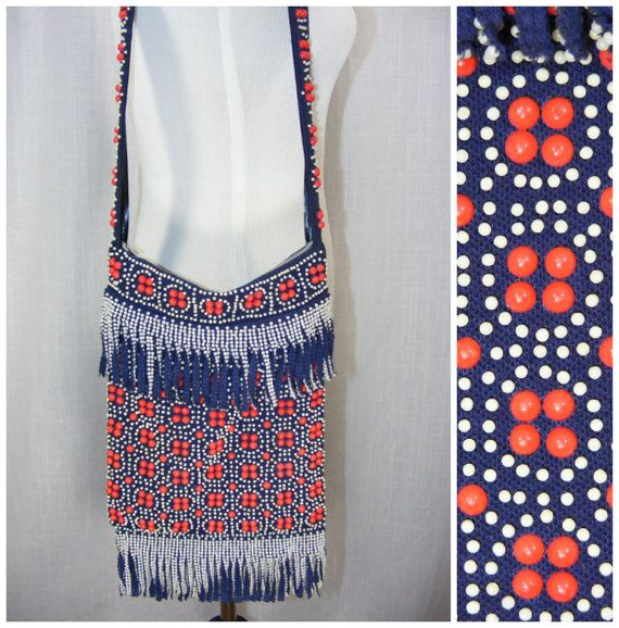 1960s Beaded fringe bag Red white and blue hippie by atlasfalcon, $35.00