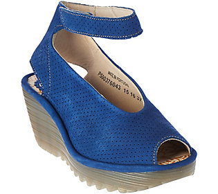 FLY London Perforated Wedge Sandals w/ Adj. Strap - Yala Perf buy cheap genuine buy cheap visit in China cheap price best store to get cheap price free shipping sale online y3i5q6HLX