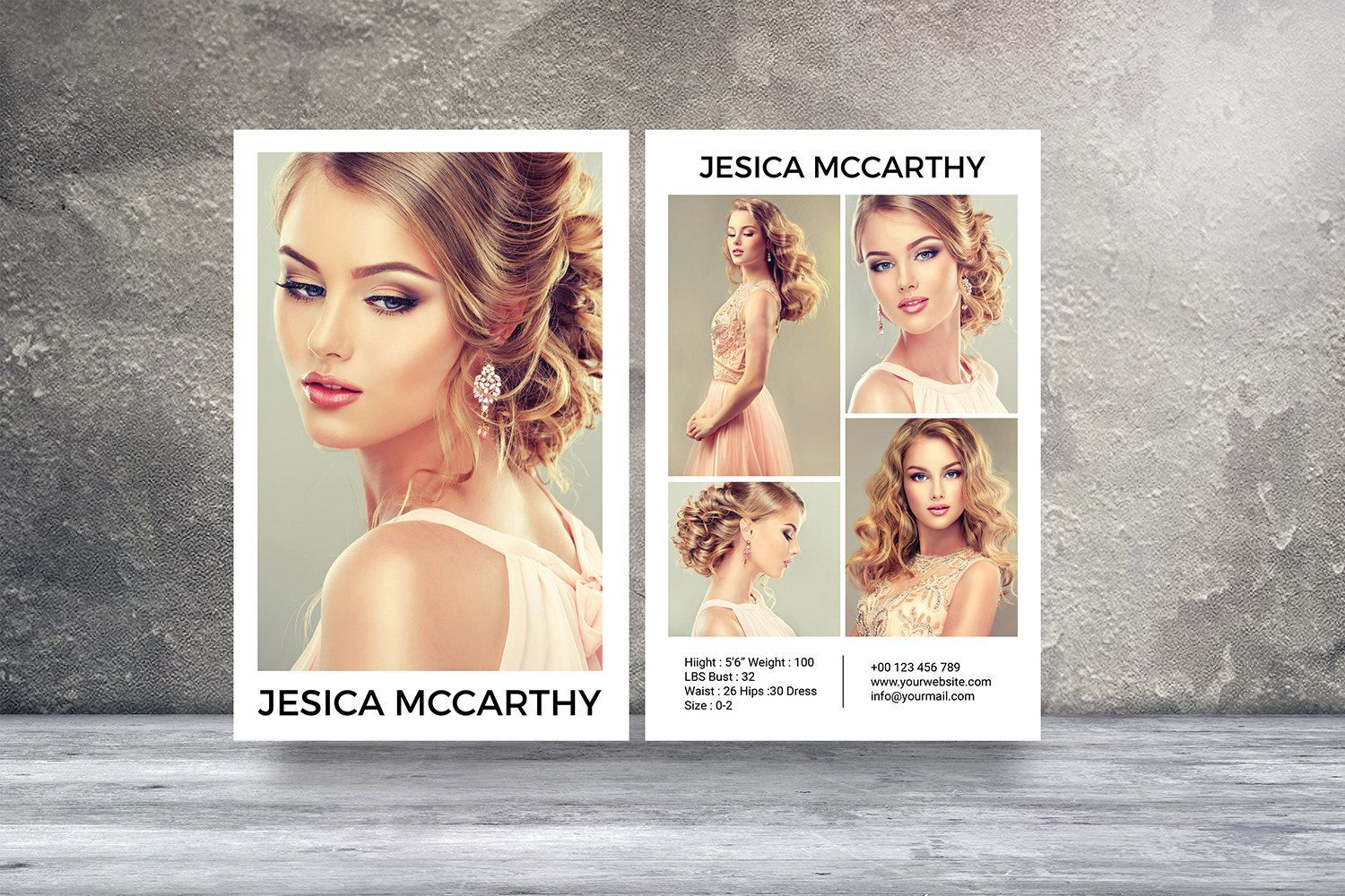 Professional Comp Card Psd Template Modeling Comp Card Etsy Model Comp Card Card Template Photoshop Template