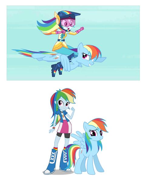 1146871 Blooper Comparison Double Rainbow Equestria Girls