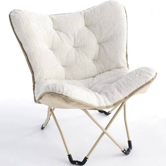 Simple By Design Sherpa Memory Foam Butterfly Chair White
