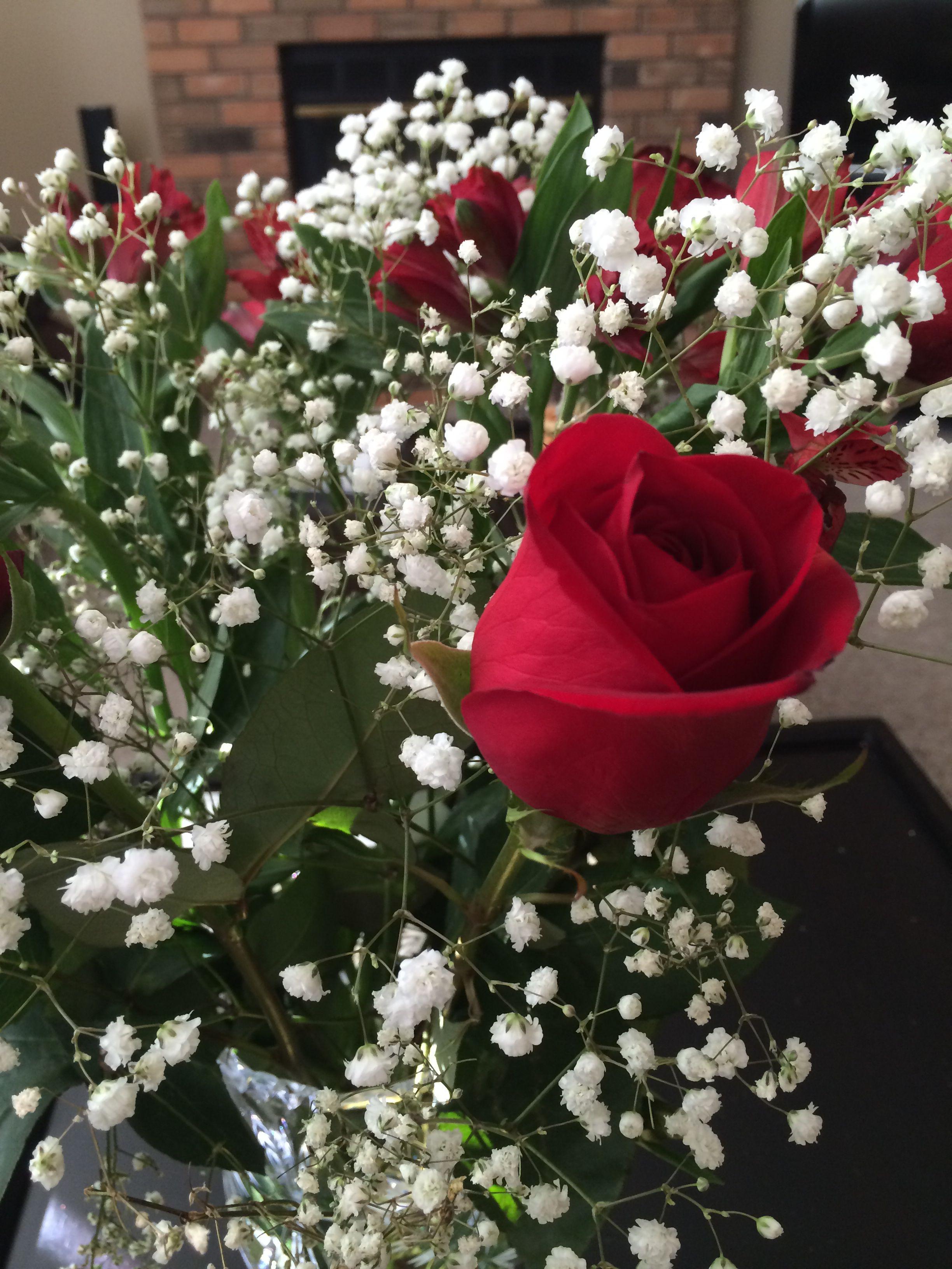 Roses & Alostramera birthday flowers from my mom 2014