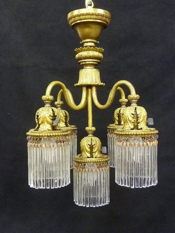 Circa 1910 Solid Cast Brass 5 Arm Chandelier with : Lot 317