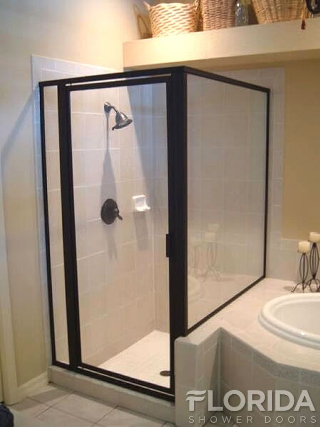 Framed Glass Shower Enclosure with a Panel on a Rise and Oil Rubbed ...