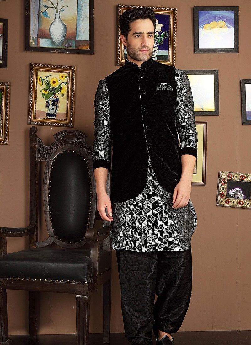 kurta pajama with jacket - Google Search | Anu | Pinterest ...