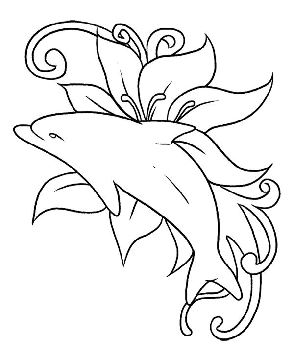 the dolphin was playing in in a sea of flowers coloring page