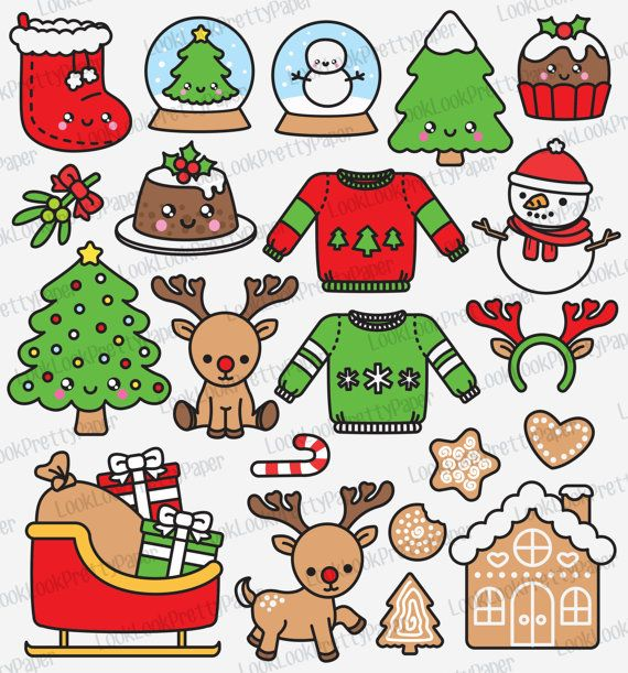 Kawaii Christmas.High Quality Vector Clipart Kawaii Christmas Clipart Cute