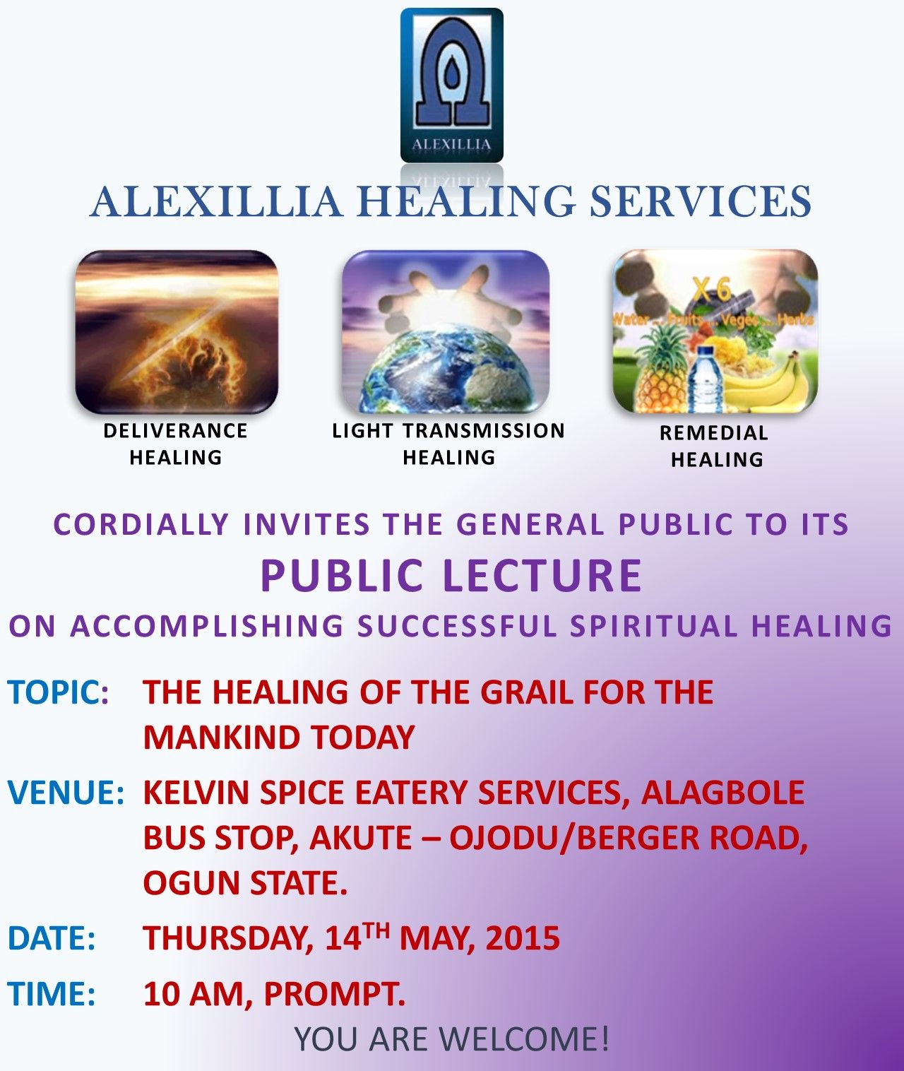 First Public Lecture of Alexillia Healing Services