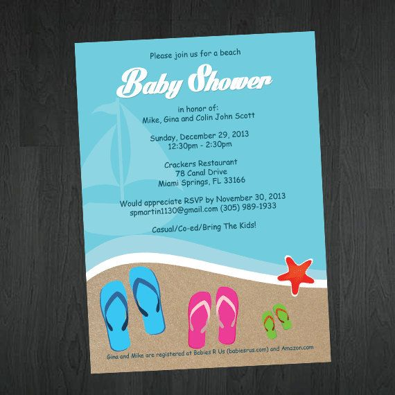 Beach Themed Baby Shower Or Bridal Shower By MemorableImprints, $10.00