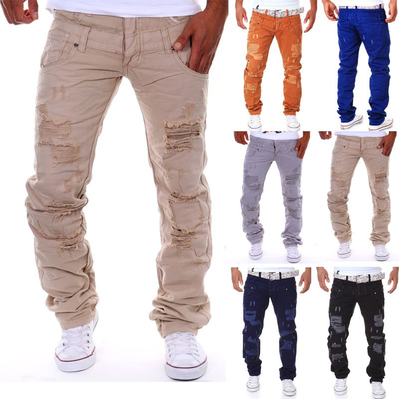New arrival new men hole jeans Italian luxury ripped jeans for men - küchentisch mit stühle