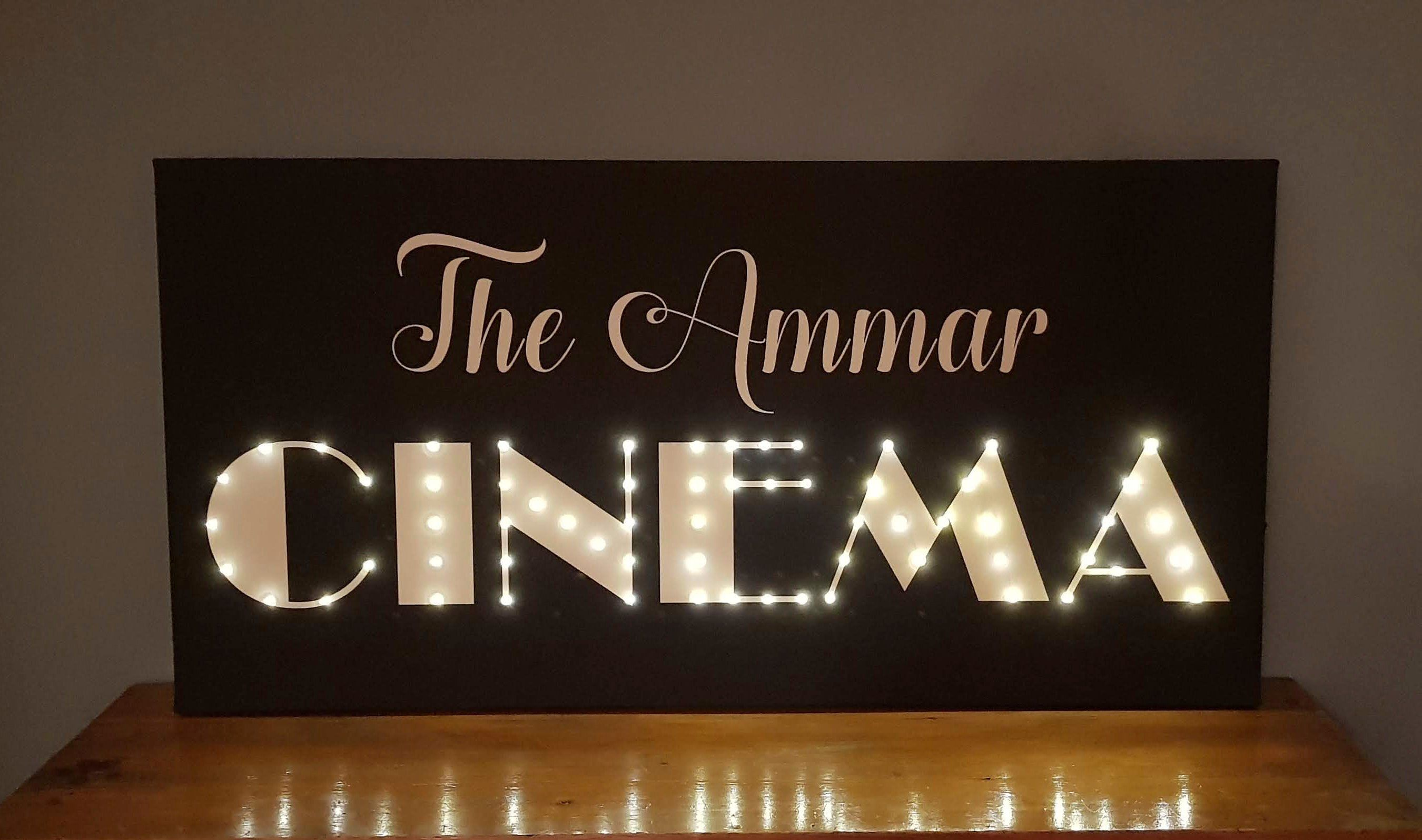 Personalized Family Cinema Sign Light Up Sign Cinema Decor Family Sign Home Cinema Decor Marquee Letters Light Up Letters Led Sign Led Dekor Leuchtschrift