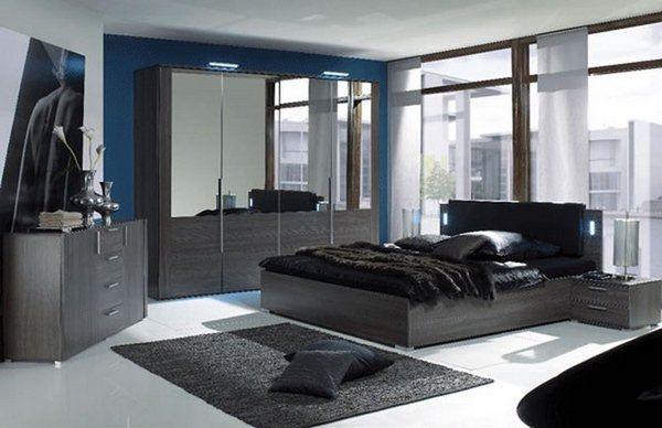 Modern Bedroom For Men Black Area Rug Dark Wood Furniture Ideas