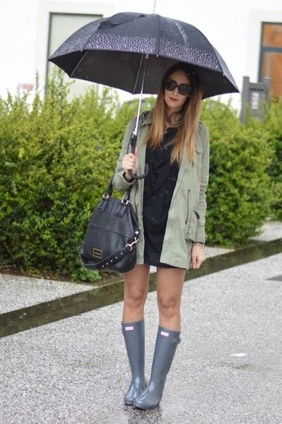 black Givenchy bag - heather gray Hunter boots - olive green parka Rifle  jacket 184f8286741bf