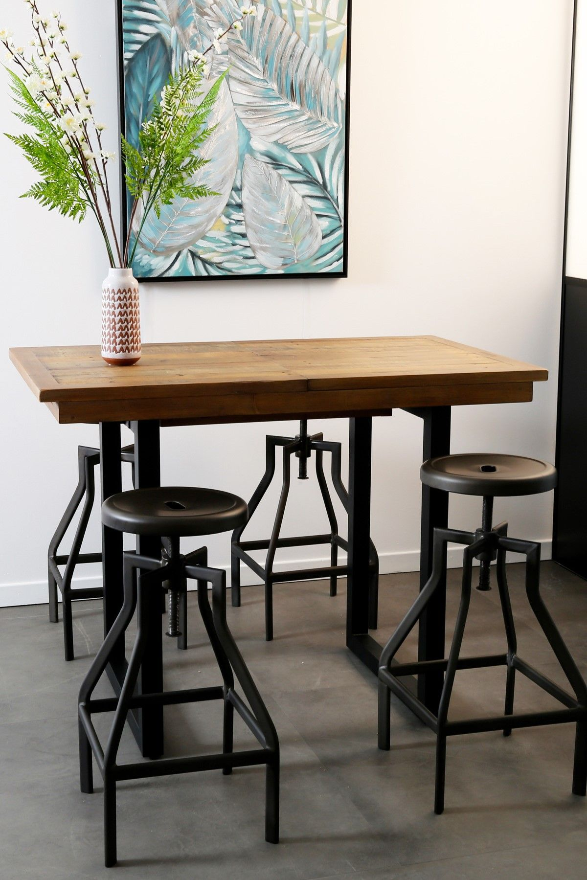 table haute extensible bois recycle 120