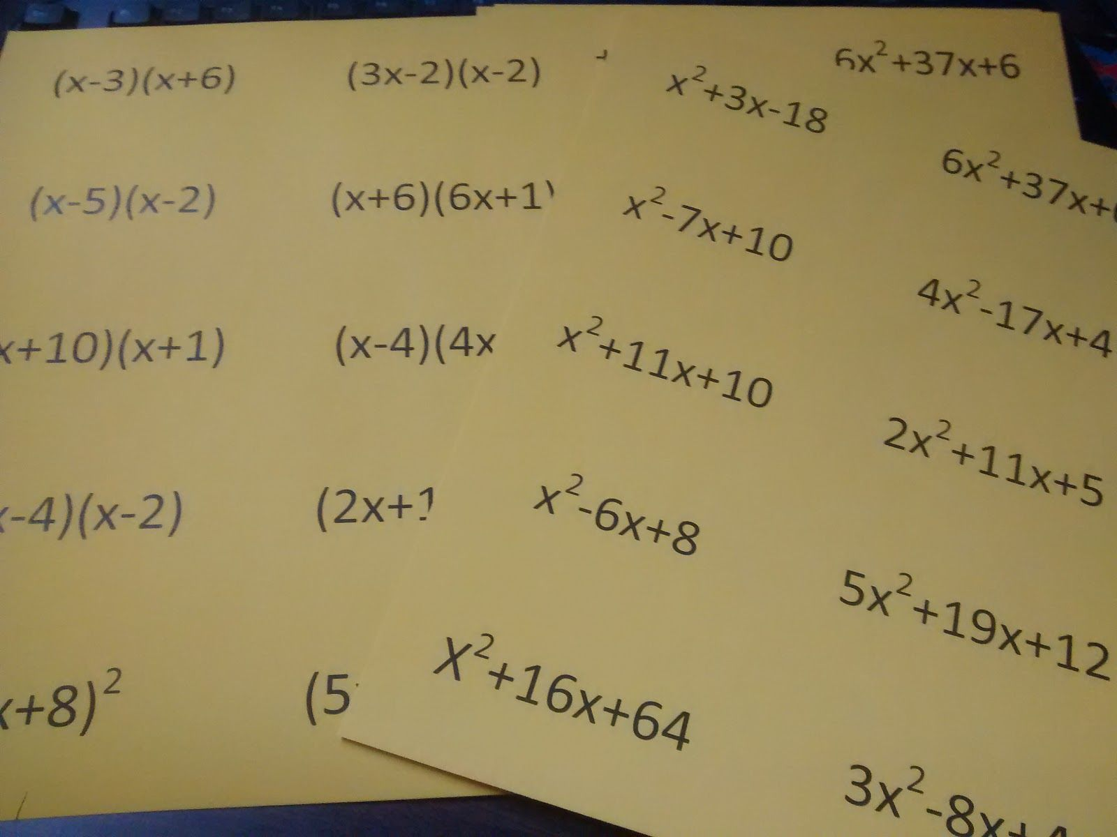 Factoring Trinomials Fun Worksheet