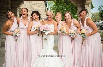 Chalk Pink Twist Wrap Long Feminine Bridesmaid Mob Dress