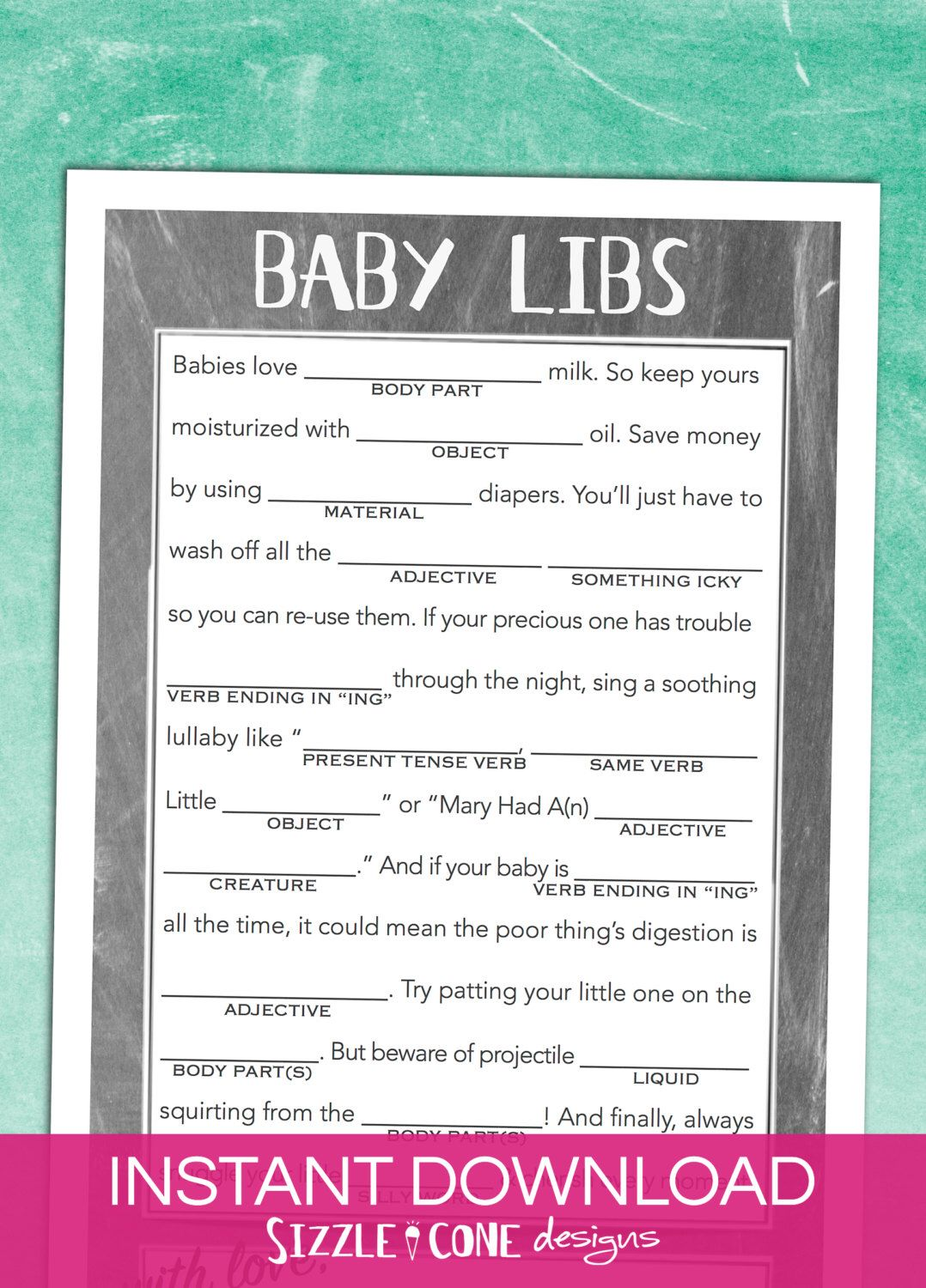 Mad Libs Baby Shower Game Gender Neutral