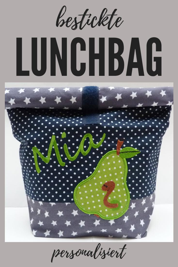 Name Brotbeutel Geschenk bestickte LunchBAG *wunschname* Lunchbox 20 Schriftarten personalisiert