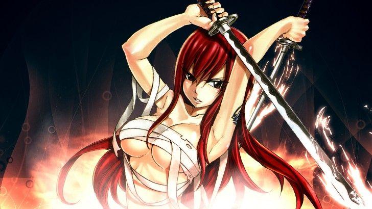 Erza Scarlet Katana Anime Girl Hd Wallpaper Damnedmetal